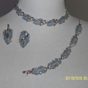 Light Blue Necklace, Bracelet and Earrings